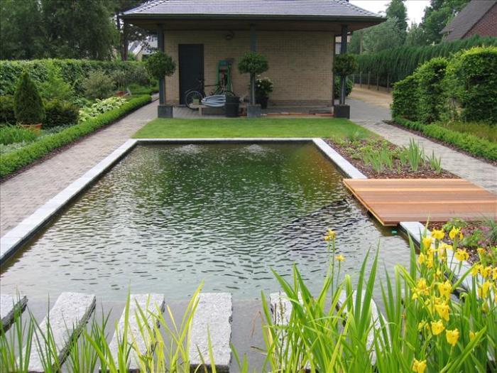 Zwemvijver met poolhouse
