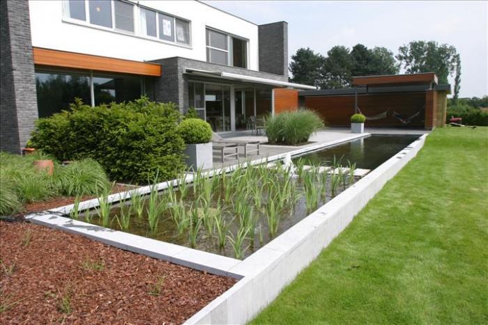 Strakke zwemvijver bij moderne woning